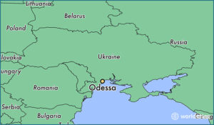 Enlargeable image map of Ukraine with Odessa, the port city on the Black Sea, highlighted.