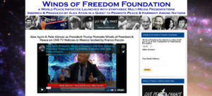 Image link snapshot of webpage of Mexican TV interview of Alex Azyin and Pete Allman as President Donald Trump talking about the Winds of Freedom Foundation.