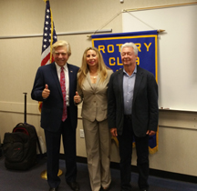 Photo of Pete Allman, Director of Communications of Winds of Freedom, Bianca Torrence, President of Malibu Rotary Club, and Alex Ayzin, creator of Winds of Freedom Symphonies and Multiimedia Presentations.
