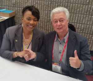 Photo of Dr. Bernice King and Alex Ayzin at the 2017 Rotary International Presidential Peace Conference.