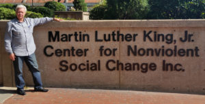 Alex Ayzin, who commissioned two symphonies, Concerto for Astronauts and Winds of Freedom, as a private citizen seeking to make a better world, is seen here at the Martin Luther King, Jr. Center for Nonviolent Change in Atlanta.