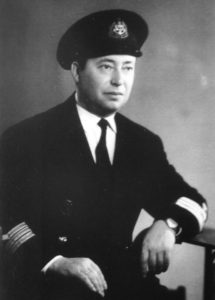 Photo of Alex Ayzin's father, depicted in his Soviet naval officer uniform. He served in submarines protecting Allied supply convoys on the Murmansk run during World War II.