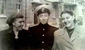 Photos of Ilya Ayzin in Odessa, Ukraine with his wife, Fenya, and her Mother Lucy. He is in his Soviet Naval Officer uniform.
