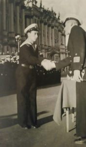 Ilya Ayzin graduating from the Leningrad-St. Petersburg Naval Academy in 1947.