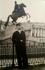 Ilya Ayzin in front of famous statue of Peter the Great, St. Petersburg, Russia